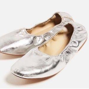 Zara Basic Leather Soft Ballerina Flats Silver37/7